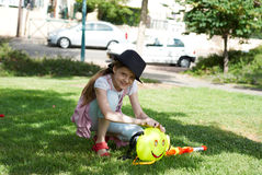 Girl with water pistol Stock Image