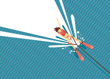 Girl water skiing. Top view of woman on the sea. Stock Photography