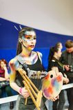 The girl with a watercolor. Cosplay character. Gomel, Belarus - March 24, 2018: International festival of hairdressers. The girl with a watercolor. Cosplay Royalty Free Stock Photos