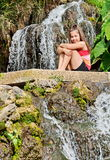 Girl and waterfall in Israel Stock Image