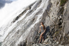 Girl and The Waterfall Stock Photography