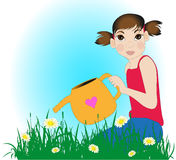 Girl watering the daisies Royalty Free Stock Image