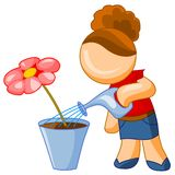 Girl watering flower. Illustration for web. Girl watering red flower, isolated on white background royalty free illustration