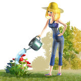Girl watering flowers Royalty Free Stock Image