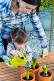 Girl watering flowers Stock Image