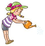 Girl watering the flowers Stock Photos