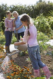 Girl (9-11) watering flowers in garden, mother and grandmother watching, smiling Stock Image