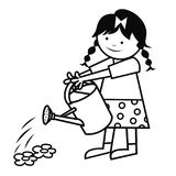 The girl is watering flowers. Vector icon. Coloring book Royalty Free Stock Image