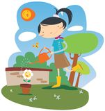 Girl watering flowes. Illustration of a girl watering flowers Stock Photography