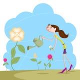 Girl watering garden. Girl watering flower plant in garden Royalty Free Stock Image