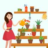 Girl watering house plants on window. Flat style vector illustration Stock Image