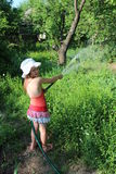 Girl watering a kitchen garden Stock Images