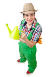Girl watering plants Royalty Free Stock Photography