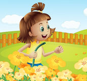A girl watering the plants in the garden. Illustration of a girl watering the plants in the garden Royalty Free Stock Image
