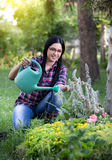 Girl watering plants in garden Stock Photo