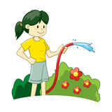 Girl Watering Plants Royalty Free Stock Image