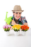Girl watering plants Royalty Free Stock Photos