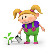 Girl watering sprout Royalty Free Stock Photo