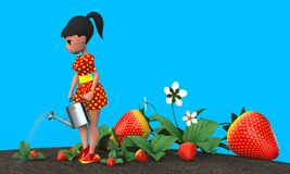 Girl watering strawberries. The girl in the red dress in yellow polka dot watering a flower bed with strawberries from a metal watering can. 3D illustration Royalty Free Stock Images