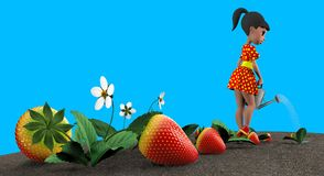 Girl watering strawberries. The girl in the red dress in yellow polka dot watering a flower bed with strawberries from a metal watering can. 3D illustration Royalty Free Stock Photography
