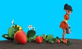 Girl watering strawberries. The girl in the red dress in yellow polka dot watering a flower bed with strawberries from a metal watering can. 3D illustration Royalty Free Stock Photo