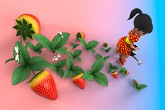 Girl watering strawberries. The girl in the red dress in yellow polka dot watering a flower bed with strawberries from a metal watering can. 3D illustration Stock Photography