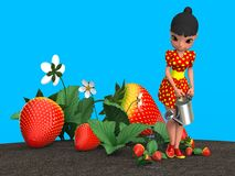 Girl watering strawberries. The girl in the red dress in yellow polka dot watering a flower bed with strawberries from a metal watering can. 3D illustration Stock Image