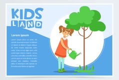 Girl watering a tree with a watering can, eco concept, organic gardening  Royalty Free Stock Images