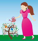 Girl watering the tree. Of knowledge Royalty Free Stock Image