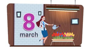 Girl Watering Tulip Flowers Happy Women Day 8 March Holiday Concept. Flat Vector Illustration Royalty Free Stock Photography