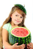 Girl with a watermelon Royalty Free Stock Photography