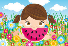 Girl with watermelon. Sweet teenager eat watermelon on a field of flowers Stock Images
