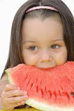 Girl with a watermelon Stock Images