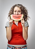 Girl with Watermelon. Cheerful Young Woman Holding Watermelon Stock Images