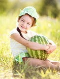 Girl with watermelon Stock Photos