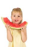 A girl with watermelon Stock Photo