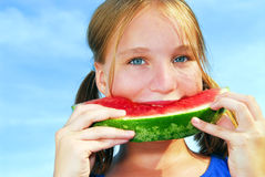 Girl with watermelon Royalty Free Stock Images