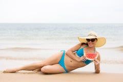 Girl watermelon beach Royalty Free Stock Photos