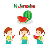 Girl With Watermelon Fruit, Juice, Ice Cream And Letters Royalty Free Stock Photos