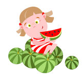 Girl with watermelon Stock Image