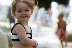 Girl at waterpark Stock Photography