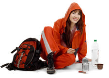 Girl in a waterproof suit Royalty Free Stock Image
