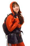 Girl in a waterproof suit. Isolated on white background stock photography