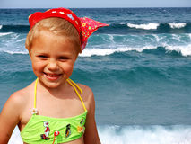 Girl and waves Royalty Free Stock Photo