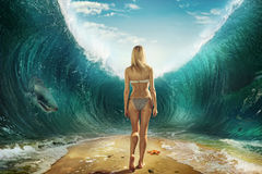 Girl in the waves. Girl in the fantastic ocean waves Royalty Free Stock Photo