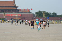 Girl Waving Chinese Flag in Tiananmen Square Stock Photos