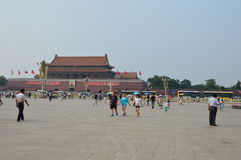 Girl Waving Chinese Flag in Tiananmen Square Royalty Free Stock Photos