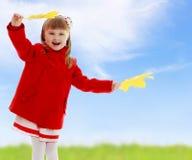 Girl waving maple leaves Stock Photo