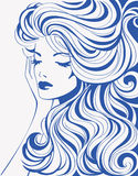 Girl with wavy hair. Decorative female background. Vector illustration Stock Photography