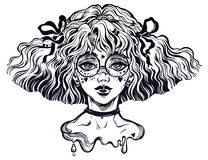 Girl with wavy hairstyle and cute make up and glasses. Kawaii and anime inspired teen with freckles. Sub culture girl with wavy hairstyle and cute make up and vector illustration